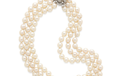 A white Gold, Diamond and Cultured Pearl Necklace