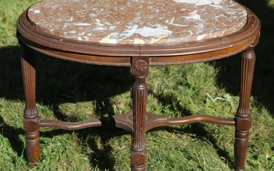 AMERICAN WALNUT VICTORIAN MARBLE TOP PARLOR TABLE