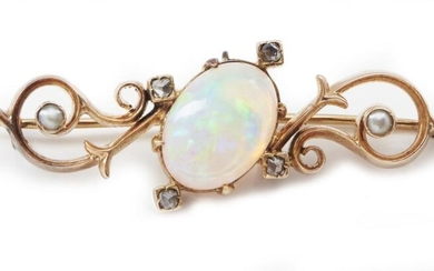 AN ANTIQUE OPAL, SEED PEARL AND DIAMOND BROOCH