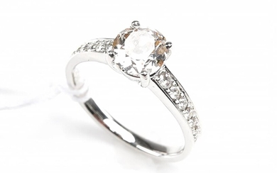AN OLD EUROPEAN CUT DIAMOND SOLITAIRE RING, WEIGHING 1.20CTS, IN 18CT WHITE GOLD(NEW SHANK), SIZE N, 3.9GMS