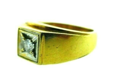 ANTIQUE 14k Yellow & White Gold & Diamond Ring Circa