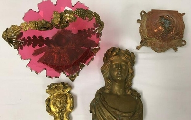 ANTIQUE DECORATIVES: GILT BRONZE, CRANBERRY GLASS