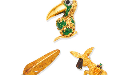 An enamel and gem-set toucan brooch, by Frascarolo, circa 1965, a gold, enamel and gem-set donkey brooch, by Ben Rosenfeld, 1968, and a gold and diamond feather brooch, by Deakin and Francis, 1973