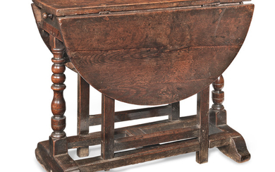 An unusual William & Mary joined oak gateleg occasional table, circa 1690