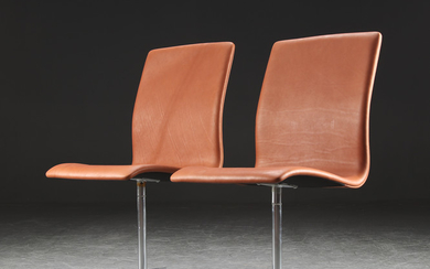 Arne Jacobsen. 'Oxford' office chair / conference chair, cognac-coloured aniline leather (2)
