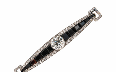 Art Deco Platinum, Diamond, and Onyx Brooch