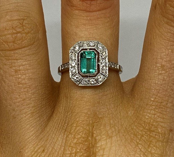 Art Deco platinum emerald and diamond cluster ring .25 carat...