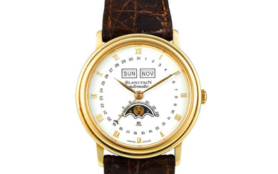 Blancpain. A Yellow Gold Triple Calendar Wristwatch with Moon Phases