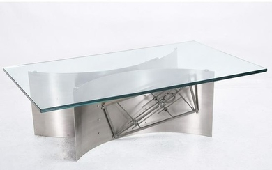 Brutalist Steel and Glass Coffee Table.