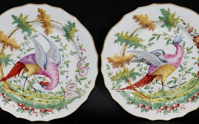 CHELSEA HAND PAINTED PORCELAIN PLATES, 19TH C