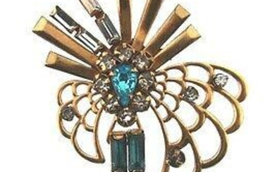 CHIC Phyllis 12k Gold Filled & Colored Glass Brooch