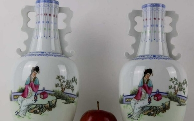 """CHINESE 10.5"""" FINE TWIN HANDLED CABINET VASES"""