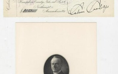 Calvin Coolidge Fantastic Signed Check