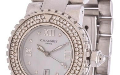 Chaumet, Stainless steel and diamond bracelet watch with mother of pearl dial