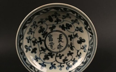 Chinese Blue-White 'Longevity with Wealth' Porcelain