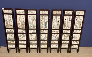Chinese C19th porcelain inlaid seven-panel folding screen, 8...