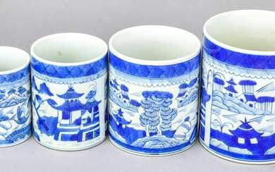 Chinese Canton Blue & White Porcelain Four Jars