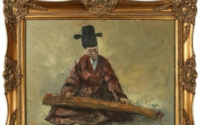 Chinese Oil on Canvas Signed Painting of Musician
