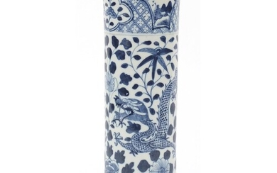Chinese blue and white porcelain vase hand painted with drag...