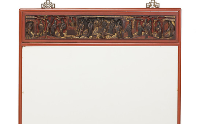 Chinese mirror with frame in lacquered, carved and gilt wood, first third of the 20th Century.