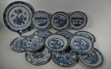 Chinese porcelain dish and 13 plates (accidents)