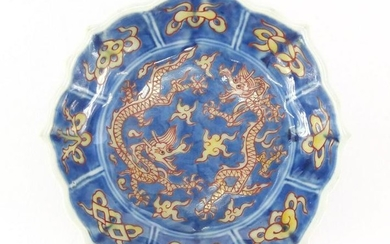 Chinese porcelain lotus flower dish, hand painted with
