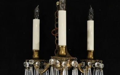 Circa 1920 French Empire Bronze Crystal Prisms Fixture