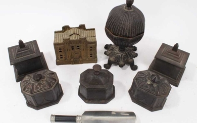 Collection of 19th century cast iron tobacco boxes , Victorian style money box