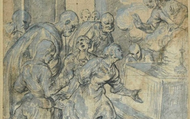 Corenzio (Belisario, 1560-1643). Group of figures lamenting a dead child before an altar