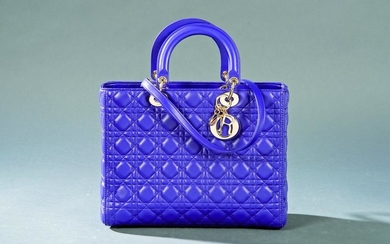 DIOR - Large Lady Dior handbag with strap in purple