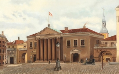 Danish painter, 20th century: Cityscape with persons in front of Copenhagen Court House. Signed and dated P. Mailund, 1915. Oil on canvas. 56×74.5 cm.
