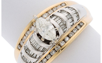 Diamond, Gold Ring The ring features a marquise-shaped diamond...