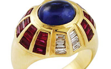 Dome ring in yellow gold with cabochon sapphire,...