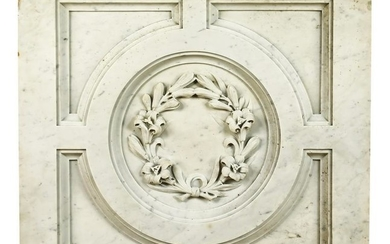 Early 20th c. American carved marble plaque w/ lilies