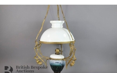 Early 20th century Czech ceiling oil lamp, Art Nouveau in st...