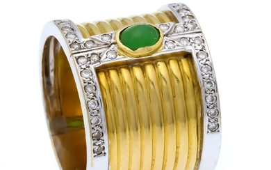 Emerald-brilliant ring GG / WG 750/000 with an...