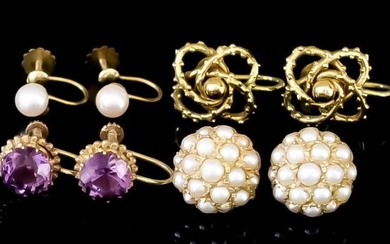 Four Pairs of Gem and Pearl Set Earrings, Modern,...