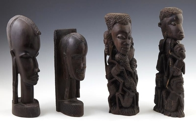 Four Small African Wood Carvings, 20th c., two of