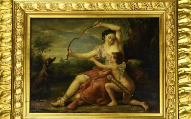 Framed Oil Painting on Board Daphne & Putti
