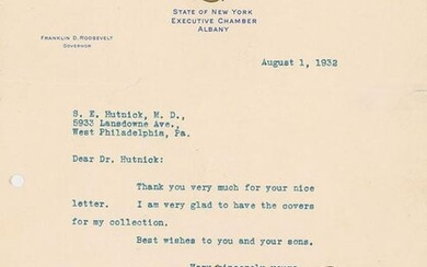 Franklin and Eleanor Roosevelt Signed TLS and Stamps
