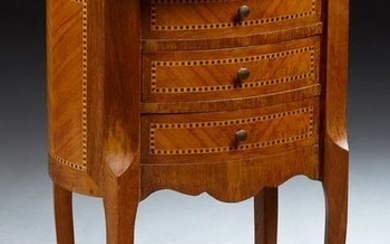 French Louis XV Style Inlaid Mahogany Marble Top