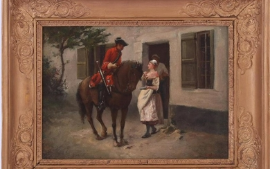 French soldier on horseback talking to servant and