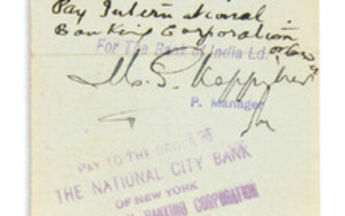 "GANDHI, MOHANDAS K. Check endorsed, ""M. Ghandi / MKGandhi,"" on verso, payable to him from attorney Ralph E. Lum"