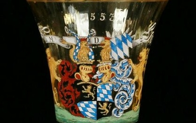 GERMAN ENAMEL ON BLOWN GLASS COMMEMORATIVE VASE