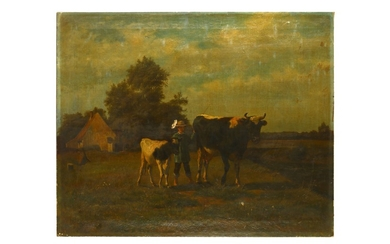 GERMAN SCHOOL (lATE 19TH CENTURY) The Young Herder, Oil on canvas 74 x 93 cm