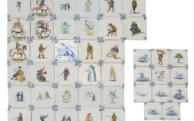 Group of forty-eight Dutch Delft blue and polychrome tiles...