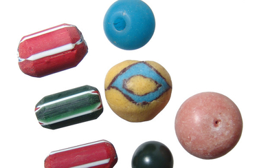 Group of large, attractive, and very colorful trade beads