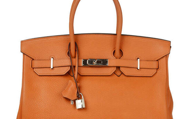 HERMÈS - a 2003 orange Togo Birkin 35 handbag.