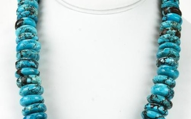 Handmade Large Scale Turquoise Bead Necklace