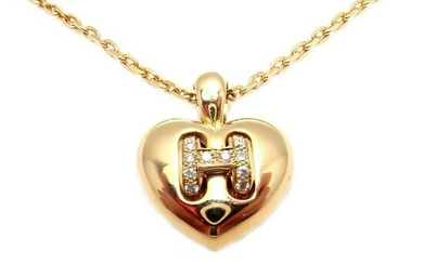 Hermes 18k Yellow Gold Diamond H Heart Pendant Necklace